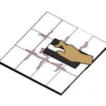 Gray grouting between tiles